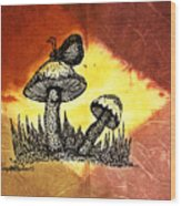 Mushroom And Butterfly Wood Print