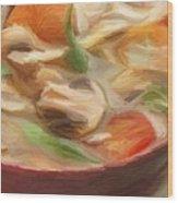 Mushroom And Vegetable Soup Wood Print
