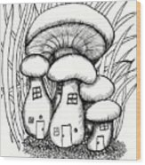 Mushroom Fairy Houses And Grass Wood Print
