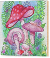 Mushroom Wonderland Wood Print