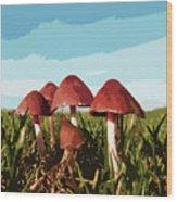 Mushrooms In Autumn Wood Print
