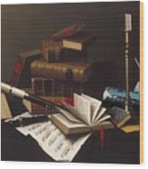 Music And Literature By William Michael Harnett Wood Print