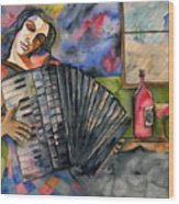 Music And Wine Wood Print