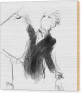 Music Conductor Sketch Wood Print