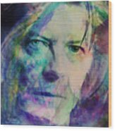Music Icons - David Bowie Ill Wood Print
