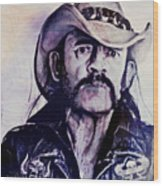 Music Icons - Lemmy Kilmister Iv Wood Print