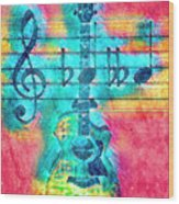 Music Is Everything In Colors Wood Print