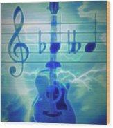 Music Is Everything Lightning Wood Print