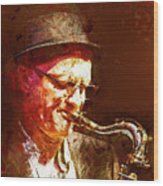 Music - Jazz Sax Player With A Hat Wood Print