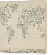 Music Notes Map Of The World Map Wood Print by Michael Tompsett