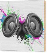 Music Speakers Colorful Design Wood Print