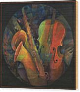 Musical Mandala - Features Cello And Sax's Wood Print