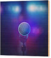 Musical Microphone On Stage Wood Print