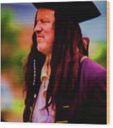 Musician In Pirate Hat And Dreadlocks - In Watercolor Photo Wood Print