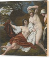 Musidora And Her Two Companions Sacharissa And Amoret At Their Bath Espied By Damon Wood Print