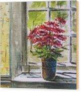 Musing-gerberas At The Window Wood Print