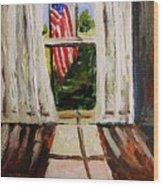Musing-glory Through The Window Wood Print