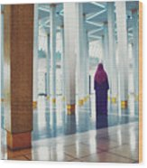 Muslim Woman Dressed In The Traditional Islam Clothing Standing Inside National Mosque In Malaysia Wood Print