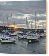 Musselburgh Marina In The Sunset. Wood Print