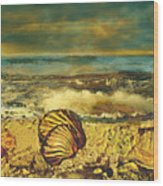 Mussels On The Beach Wood Print