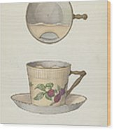 Mustache Cup And Saucer Wood Print