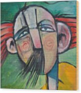 Mustached Man In Wind Wood Print
