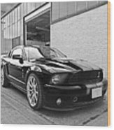 Mustang Alley In Black And White Wood Print