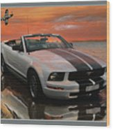Mustang And Mustang At The Beach Wood Print