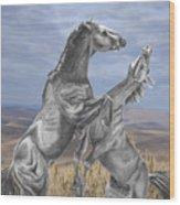 Mustang Battle Wood Print