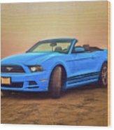 Mustang Ocean Shores Beach Wood Print