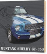 Mustang Shelby Gt-350, Blue And White Classic Car, Gift For Men Wood Print