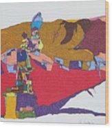 Mustang Tibetan Hawk And Prayer Flags Wood Print