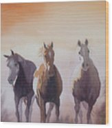 Mustangs Out Of The Fire Wood Print