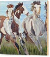 Mustangs Running Free Wood Print
