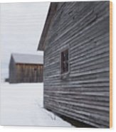 Musterfield Farm North Sutton Nh Old Buildings In The Snow Wood Print