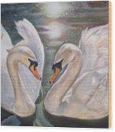 Mute Swans - River Severn Wood Print