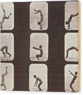 Muybridge Locomotion Back Hand Spring Wood Print by Photo Researchers
