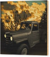 My 51 Willys Jeep Pickup Truck At Sunset Wood Print