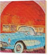 My Blue Corvette At The Orange Julep Wood Print