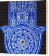 My Blue Hamsa Wood Print