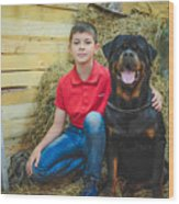 My Brother And The Dog 2 Wood Print