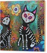 My Cats Dia De  Los Muertos Wood Print