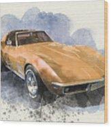 Orange Dream Car Wood Print