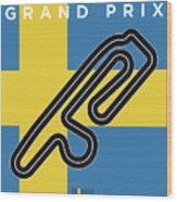 My F1 Anderstorp Race Track Minimal Poster Wood Print