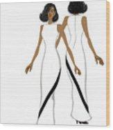 My Fashion Art-white Dress With Black Stripe Wood Print