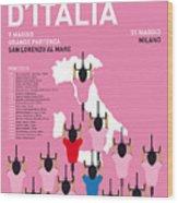 MY GIRO D'ITALIA MINIMAL POSTER Percorso 2015 Wood Print