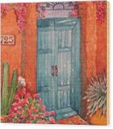 My Neighbors Blue Door  Wood Print