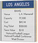 My Nfl Los Angeles Rams Monopoly Card Wood Print