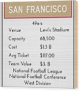 My Nfl San Francisco 49ers Monopoly Card Wood Print