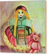 My Russian Doll Wood Print by Pilar  Martinez-Byrne